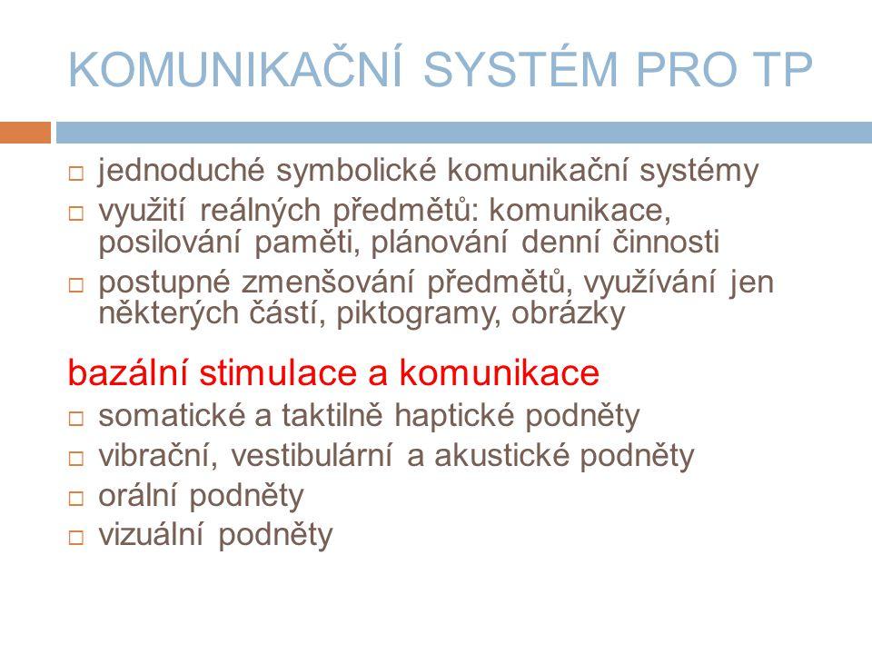 KOMUNIKAČNÍ SYSTÉM PRO TP  jednoduché symbolické komunikační systémy  využití reálných předmětů: komunikace, posilování paměti, plánování denní činnosti  postupné zmenšování předmětů, využívání jen některých částí, piktogramy, obrázky bazální stimulace a komunikace  somatické a taktilně haptické podněty  vibrační, vestibulární a akustické podněty  orální podněty  vizuální podněty