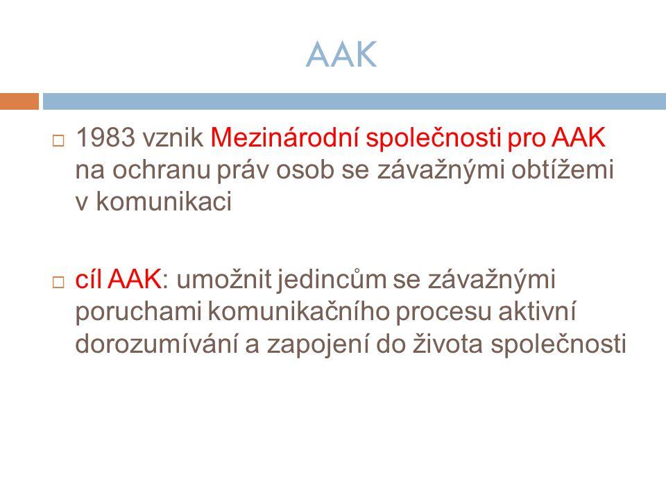 AAK  1983 vznik Mezinárodní společnosti pro AAK na ochranu práv osob se závažnými obtížemi v komunikaci  cíl AAK: umožnit jedincům se závažnými poruchami komunikačního procesu aktivní dorozumívání a zapojení do života společnosti