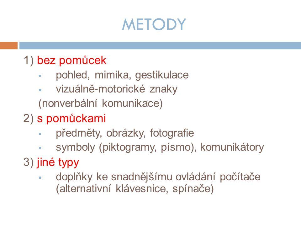 METODY 1) bez pomůcek  pohled, mimika, gestikulace  vizuálně-motorické znaky (nonverbální komunikace) 2) s pomůckami  předměty, obrázky, fotografie  symboly (piktogramy, písmo), komunikátory 3) jiné typy  doplňky ke snadnějšímu ovládání počítače (alternativní klávesnice, spínače)
