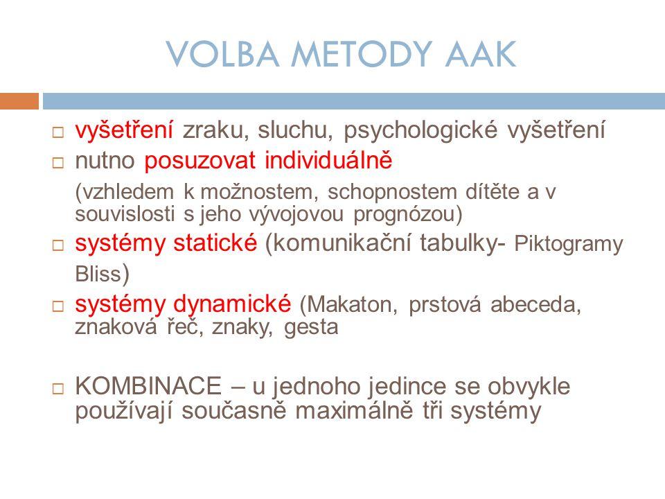 VOLBA METODY AAK  vyšetření zraku, sluchu, psychologické vyšetření  nutno posuzovat individuálně (vzhledem k možnostem, schopnostem dítěte a v souvislosti s jeho vývojovou prognózou)  systémy statické (komunikační tabulky- Piktogramy Bliss )  systémy dynamické (Makaton, prstová abeceda, znaková řeč, znaky, gesta  KOMBINACE – u jednoho jedince se obvykle používají současně maximálně tři systémy