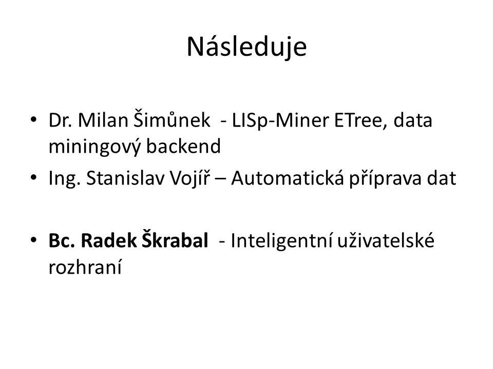 Následuje Dr. Milan Šimůnek - LISp-Miner ETree, data miningový backend Ing.