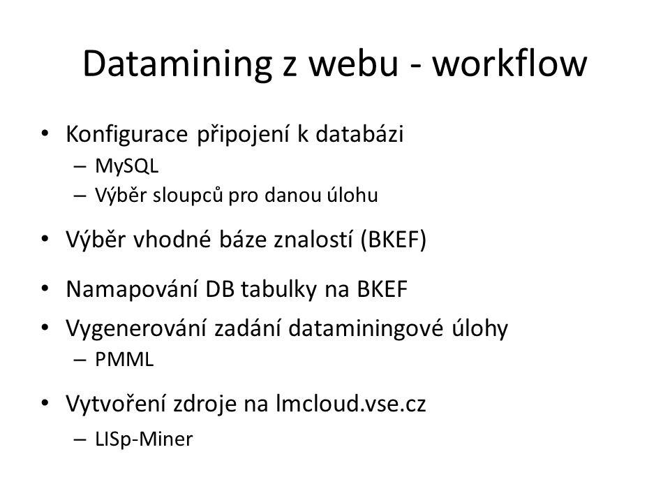 Datamining z webu - workflow Konfigurace připojení k databázi – MySQL – Výběr sloupců pro danou úlohu Výběr vhodné báze znalostí (BKEF) Namapování DB tabulky na BKEF Vygenerování zadání dataminingové úlohy – PMML Vytvoření zdroje na lmcloud.vse.cz – LISp-Miner
