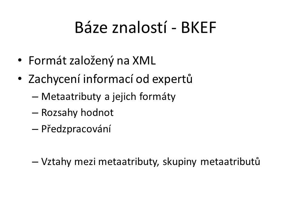 Báze znalostí - BKEF Formát založený na XML Zachycení informací od expertů – Metaatributy a jejich formáty – Rozsahy hodnot – Předzpracování – Vztahy mezi metaatributy, skupiny metaatributů