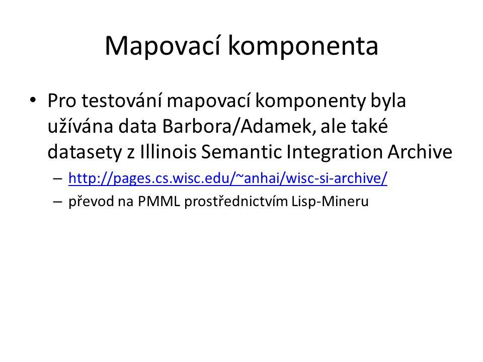 Mapovací komponenta Pro testování mapovací komponenty byla užívána data Barbora/Adamek, ale také datasety z Illinois Semantic Integration Archive – http://pages.cs.wisc.edu/~anhai/wisc-si-archive/ http://pages.cs.wisc.edu/~anhai/wisc-si-archive/ – převod na PMML prostřednictvím Lisp-Mineru