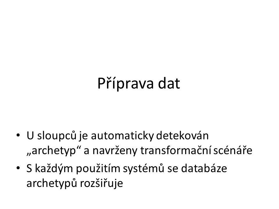 """Příprava dat U sloupců je automaticky detekován """"archetyp a navrženy transformační scénáře S každým použitím systémů se databáze archetypů rozšiřuje"""
