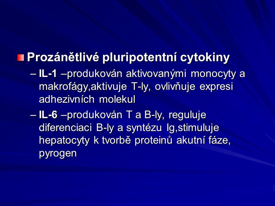 Prozánětlivé pluripotentní cytokiny –IL-1 –produkován aktivovanými monocyty a makrofágy,aktivuje T-ly, ovlivňuje expresi adhezivních molekul –IL-6 –pr