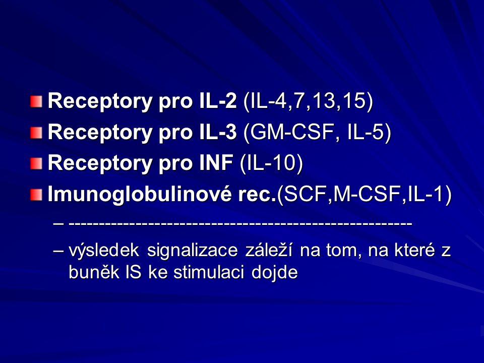 Receptory pro IL-2 (IL-4,7,13,15) Receptory pro IL-3 (GM-CSF, IL-5) Receptory pro INF (IL-10) Imunoglobulinové rec.(SCF,M-CSF,IL-1) –-----------------