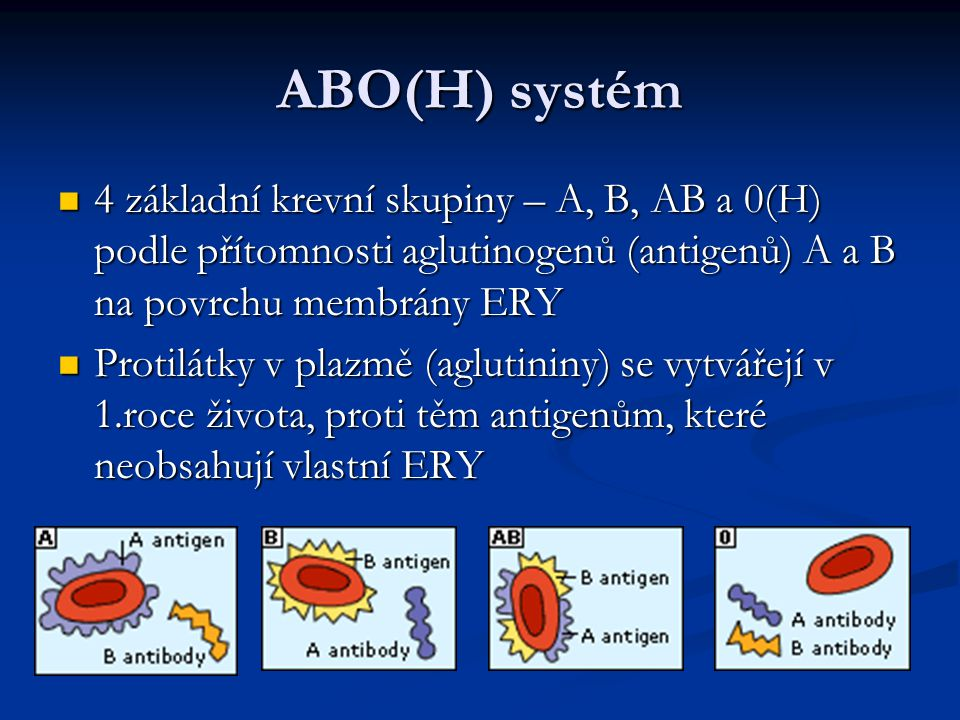 ABO(H) systém 4 základní krevní skupiny – A, B, AB a 0(H) podle přítomnosti aglutinogenů (antigenů) A a B na povrchu membrány ERY 4 základní krevní sk