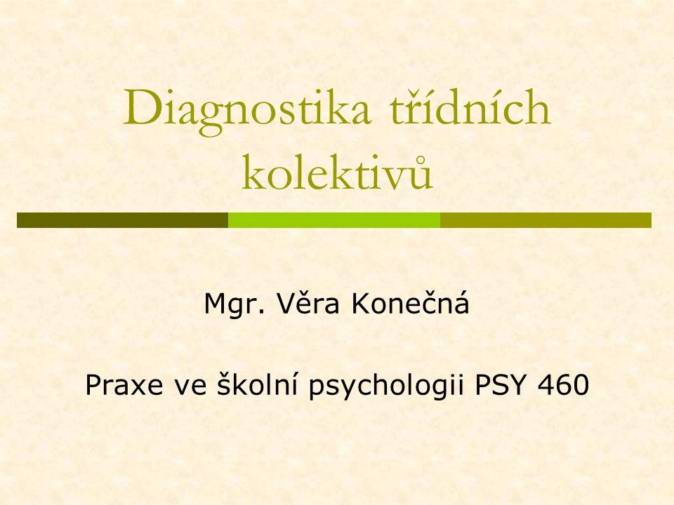 Diagnostika třídních kolektivů Mgr. Věra Konečná Praxe ve školní psychologii PSY 460