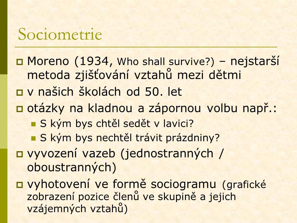Sociometrie  Moreno (1934, Who shall survive?) – nejstarší metoda zjišťování vztahů mezi dětmi  v našich školách od 50. let  otázky na kladnou a zá
