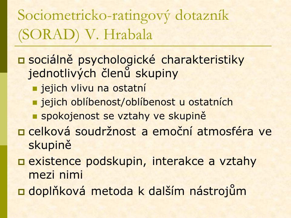 Sociometricko-ratingový dotazník (SORAD) V. Hrabala  sociálně psychologické charakteristiky jednotlivých členů skupiny jejich vlivu na ostatní jejich