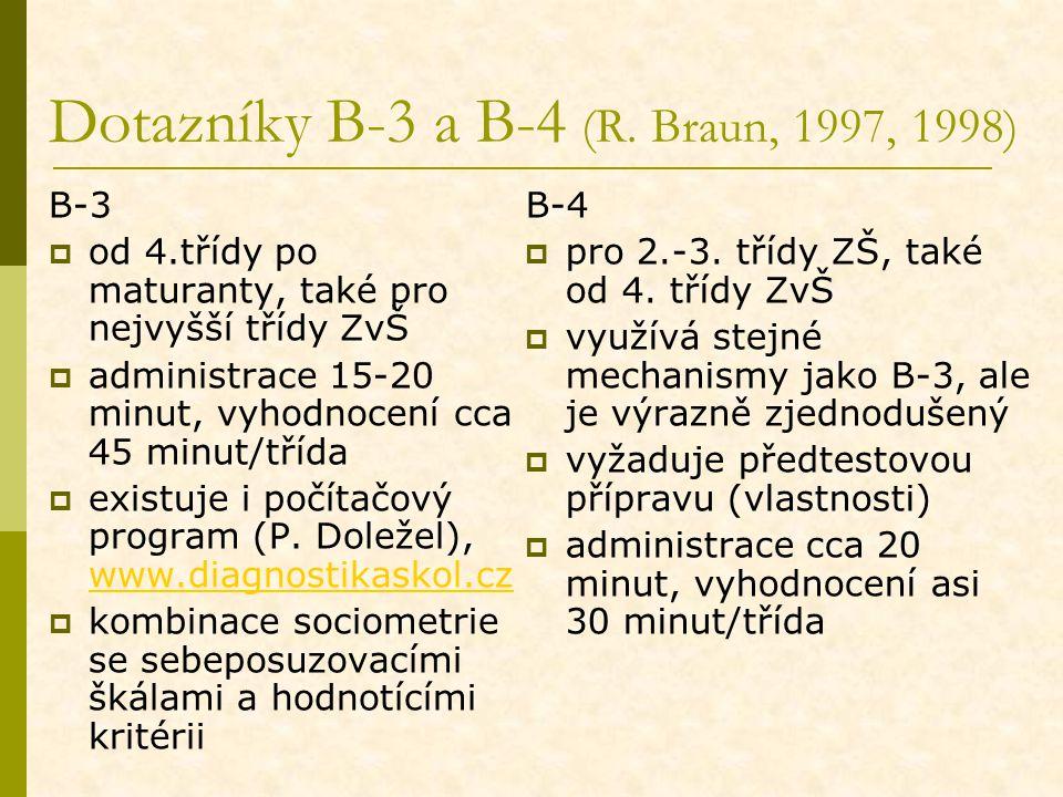 Dotazníky B-3 a B-4 (R. Braun, 1997, 1998) B-3  od 4.třídy po maturanty, také pro nejvyšší třídy ZvŠ  administrace 15-20 minut, vyhodnocení cca 45 m