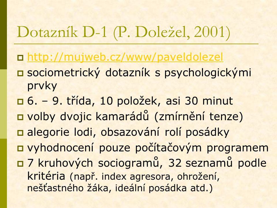 Dotazník D-1 (P. Doležel, 2001)  http://mujweb.cz/www/paveldolezel http://mujweb.cz/www/paveldolezel  sociometrický dotazník s psychologickými prvky