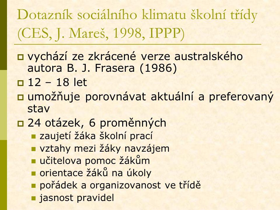 Dotazník sociálního klimatu školní třídy (CES, J. Mareš, 1998, IPPP)  vychází ze zkrácené verze australského autora B. J. Frasera (1986)  12 – 18 le