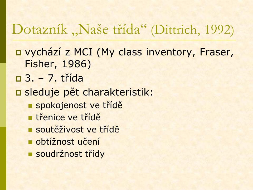 """Dotazník """"Naše třída"""" (Dittrich, 1992)  vychází z MCI (My class inventory, Fraser, Fisher, 1986)  3. – 7. třída  sleduje pět charakteristik: spokoj"""