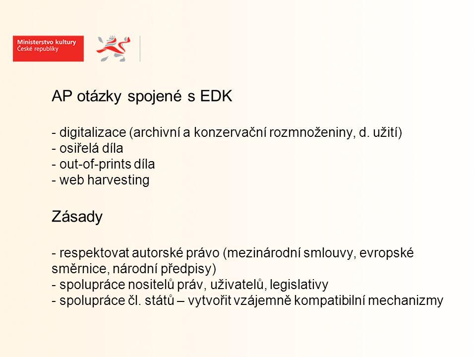 """Evropské dokumenty k EDK - Rozhodnutí EP a Rady (březen 2005) o zavedení víceletého programu Společenství pro usnadnění přístupu k digitálně šířenému obsahu a jeho používání a využívání v Evropě - Sdělení EK (září 2005) i2010: Digitální knihovny - Doporučení EK (srpen 2006) - Závěry Rady (prosinec 2006) - Usnesení EP (září 2007) o """"i2010: směrem k evropské digitální knihovně"""