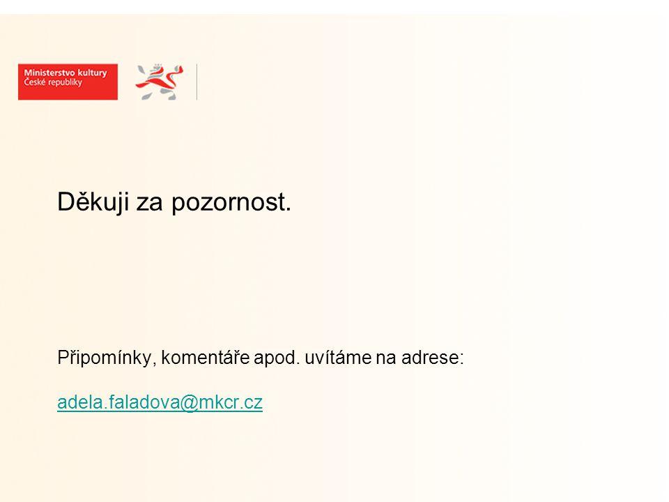 Děkuji za pozornost. Připomínky, komentáře apod. uvítáme na adrese: adela.faladova@mkcr.cz adela.faladova@mkcr.cz