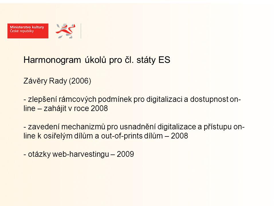 Harmonogram úkolů pro EK Závěry Rady (2006) - zřídit skupinu odborníků – z čl.