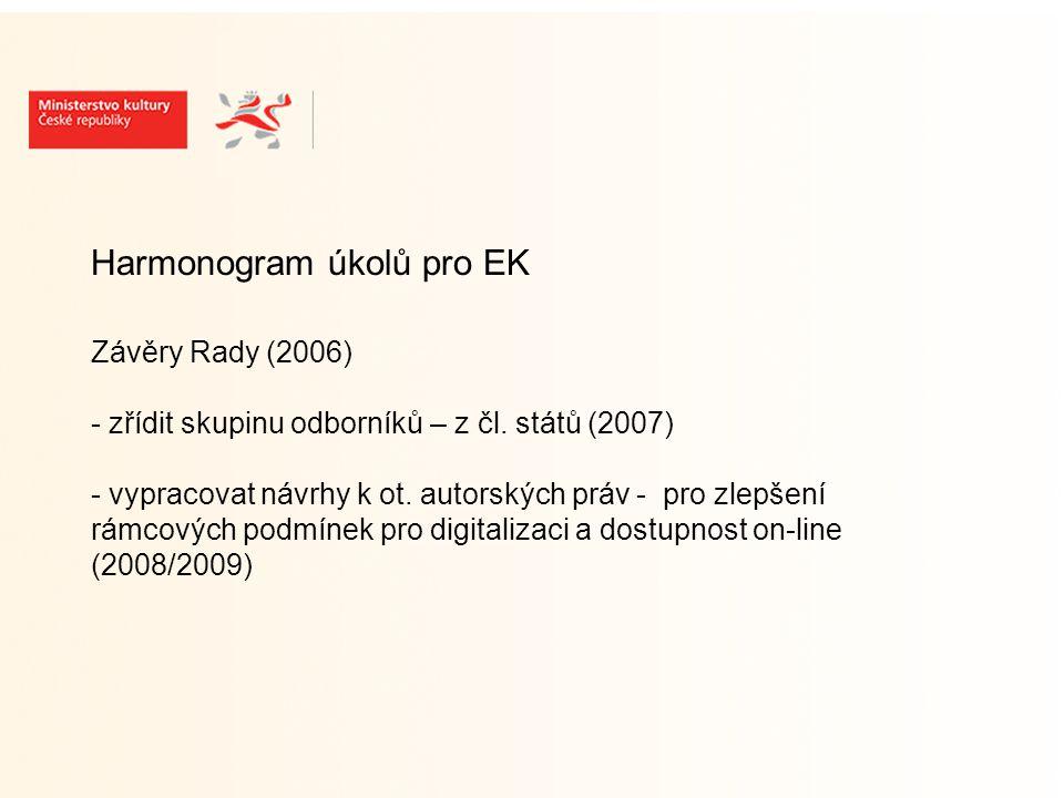 Pracovní skupina pro AP a EDK (odbor autorského práva MK) předpokládaná účast: zástupců nositelů práv (KS, agentury) zástupců nakladatelů, vydavatelů (SČKN, Unie vydavatelů) zástupců knihoven (NK, SKIP) zástupců muzeí, galerií, archivů zástupců VŠ AP expertů zástupců příslušných odborů MK