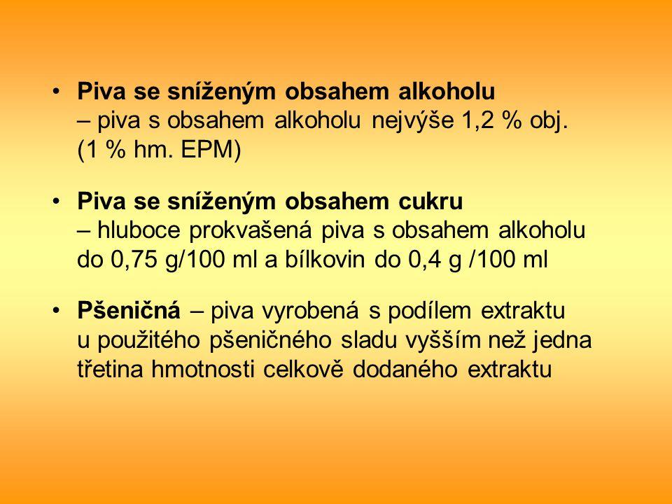 Piva se sníženým obsahem alkoholu – piva s obsahem alkoholu nejvýše 1,2 % obj. (1 % hm. EPM) Piva se sníženým obsahem cukru – hluboce prokvašená piva
