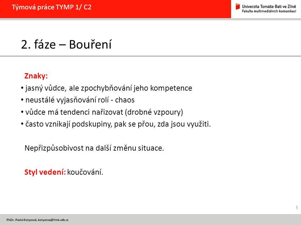 PhDr. Pavla Kotyzová, kotyzova@fmk.utb.cz Týmová práce TYMP 1/ C2 2. fáze – Bouření Znaky: jasný vůdce, ale zpochybňování jeho kompetence neustálé vyj