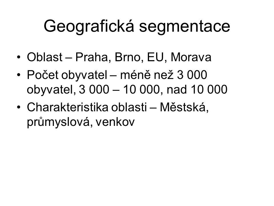 Geografická segmentace Oblast – Praha, Brno, EU, Morava Počet obyvatel – méně než 3 000 obyvatel, 3 000 – 10 000, nad 10 000 Charakteristika oblasti –