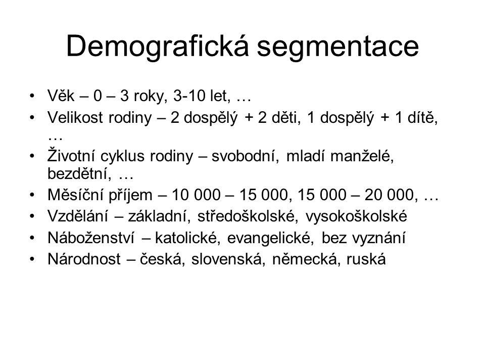 Demografická segmentace Věk – 0 – 3 roky, 3-10 let, … Velikost rodiny – 2 dospělý + 2 děti, 1 dospělý + 1 dítě, … Životní cyklus rodiny – svobodní, ml