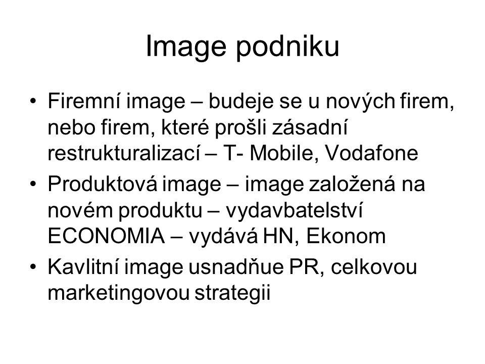 Image podniku Firemní image – budeje se u nových firem, nebo firem, které prošli zásadní restrukturalizací – T- Mobile, Vodafone Produktová image – im