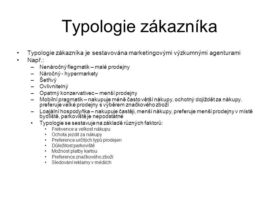 Typologie zákazníka Typologie zákazníka je sestavována marketingovými výzkumnými agenturami Např.: –Nenáročný flegmatik – malé prodejny –Náročný - hyp