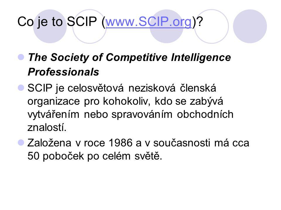 Co je to SCIP (www.SCIP.org) www.SCIP.org The Society of Competitive Intelligence Professionals SCIP je celosvětová nezisková členská organizace pro kohokoliv, kdo se zabývá vytvářením nebo spravováním obchodních znalostí.