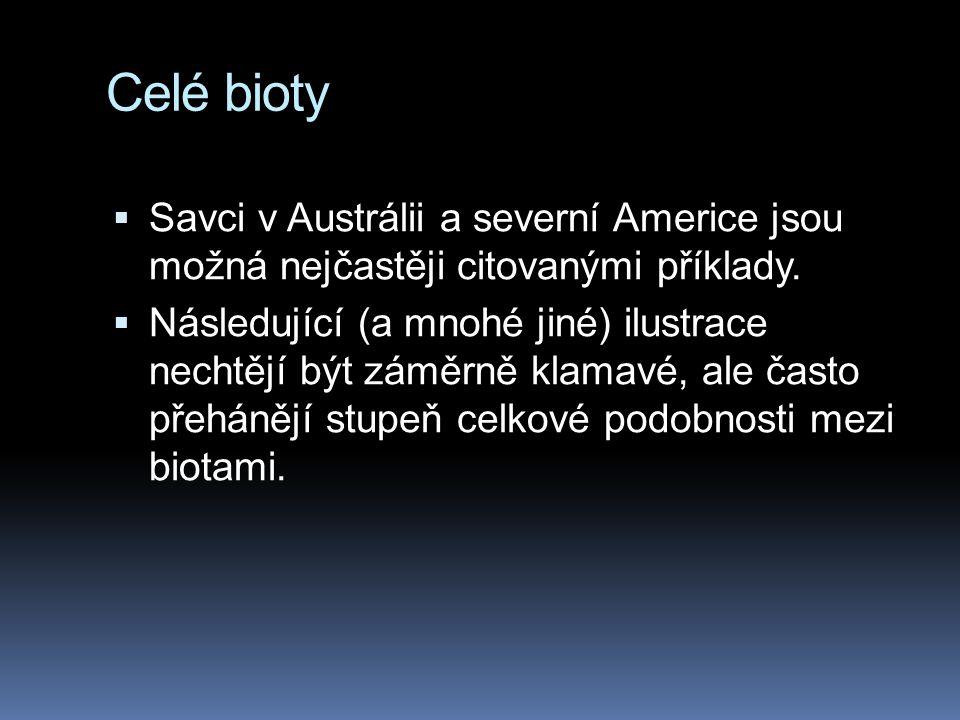 Celé bioty  Savci v Austrálii a severní Americe jsou možná nejčastěji citovanými příklady.  Následující (a mnohé jiné) ilustrace nechtějí být záměrn