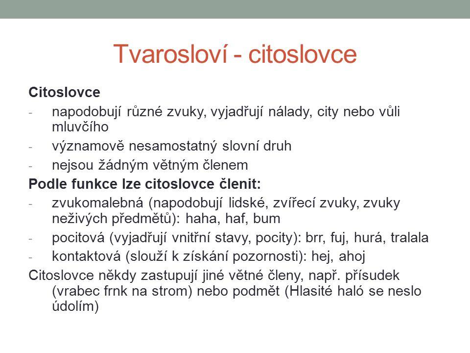 Tvarosloví – neohebné slovní druhy Zdroje MUŽÍKOVÁ, Olga, Barbora MARKVARTOVÁ, Lenka KLUSÁČKOVÁ a Eleonora JEŘÁBKOVÁ.