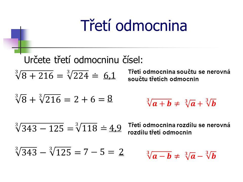 Třetí odmocnina Určete třetí odmocninu čísel: Třetí odmocnina součtu se nerovná součtu třetích odmocnin Třetí odmocnina rozdílu se nerovná rozdílu tře