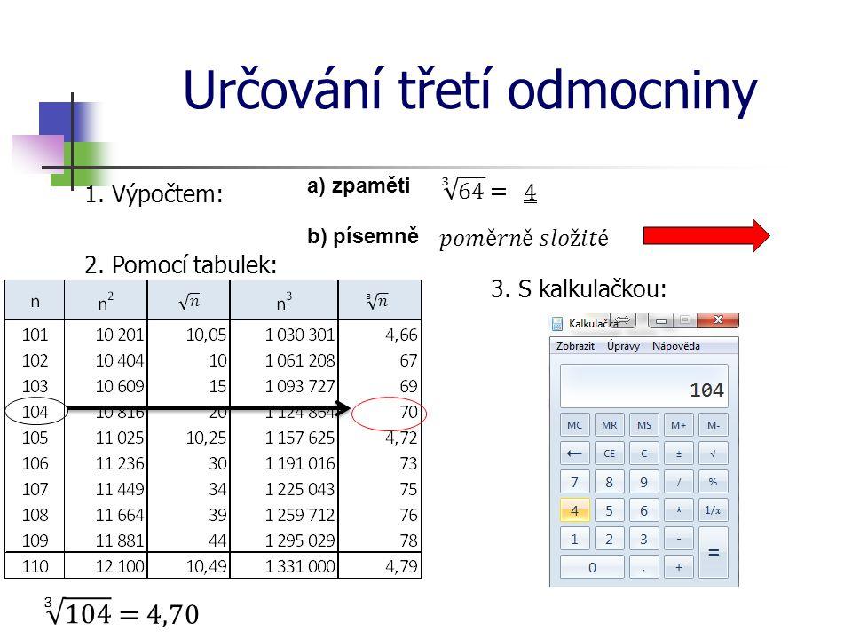 Určování třetí odmocniny 1. Výpočtem: a) zpaměti b) písemně 2. Pomocí tabulek: 3. S kalkulačkou: