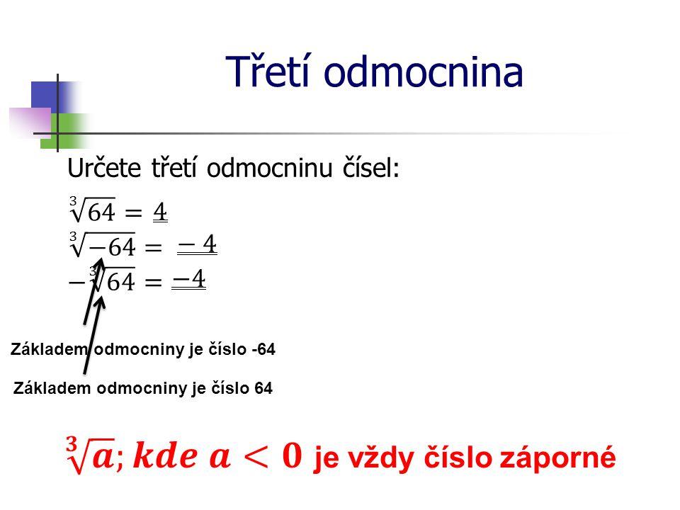 Třetí odmocnina Určete třetí odmocninu čísel: Základem odmocniny je číslo -64 Základem odmocniny je číslo 64
