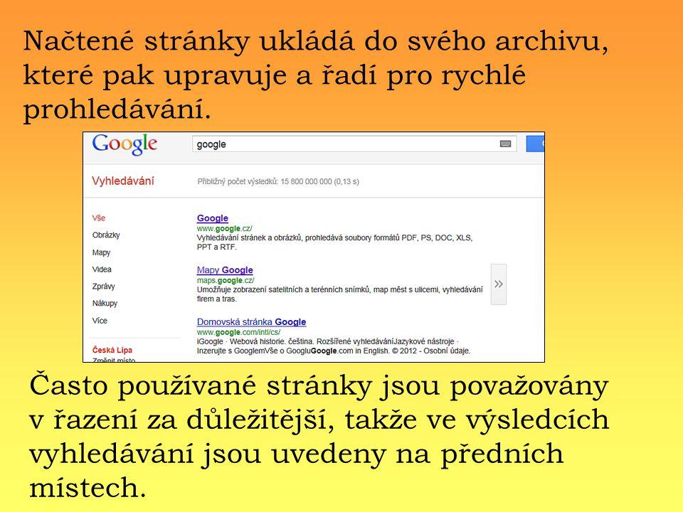 Načtené stránky ukládá do svého archivu, které pak upravuje a řadí pro rychlé prohledávání.