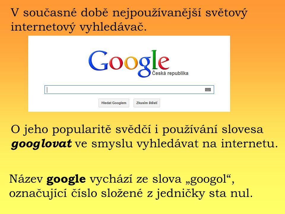 V současné době nejpoužívanější světový internetový vyhledávač.