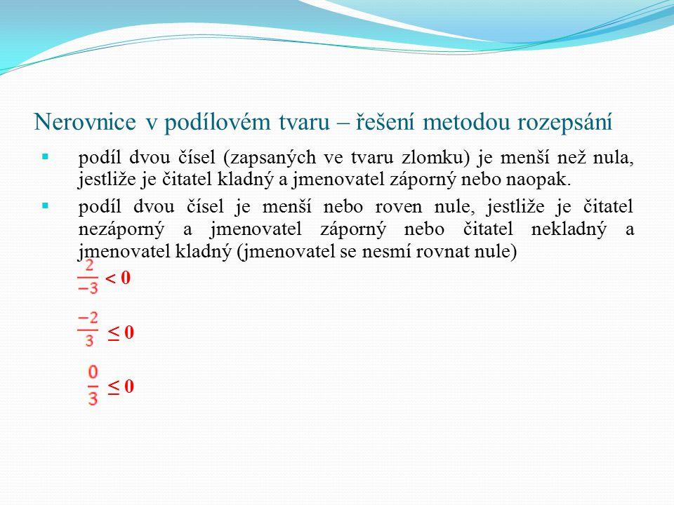 Nerovnice v podílovém tvaru – řešení metodou rozepsání  podíl dvou čísel (zapsaných ve tvaru zlomku) je menší než nula, jestliže je čitatel kladný a