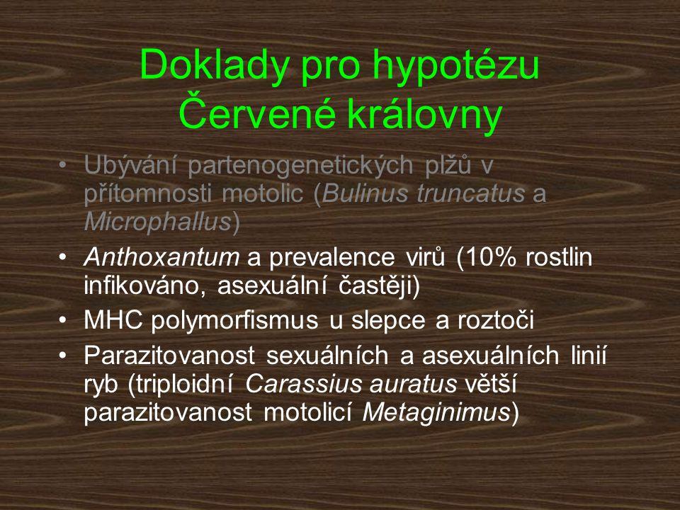 Doklady pro hypotézu Červené královny Ubývání partenogenetických plžů v přítomnosti motolic (Bulinus truncatus a Microphallus) Anthoxantum a prevalenc
