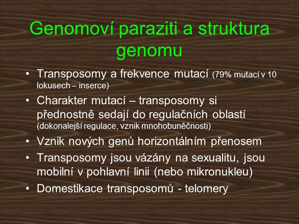 Genomoví paraziti a struktura genomu Transposomy a frekvence mutací (79% mutací v 10 lokusech – inserce) Charakter mutací – transposomy si přednostně