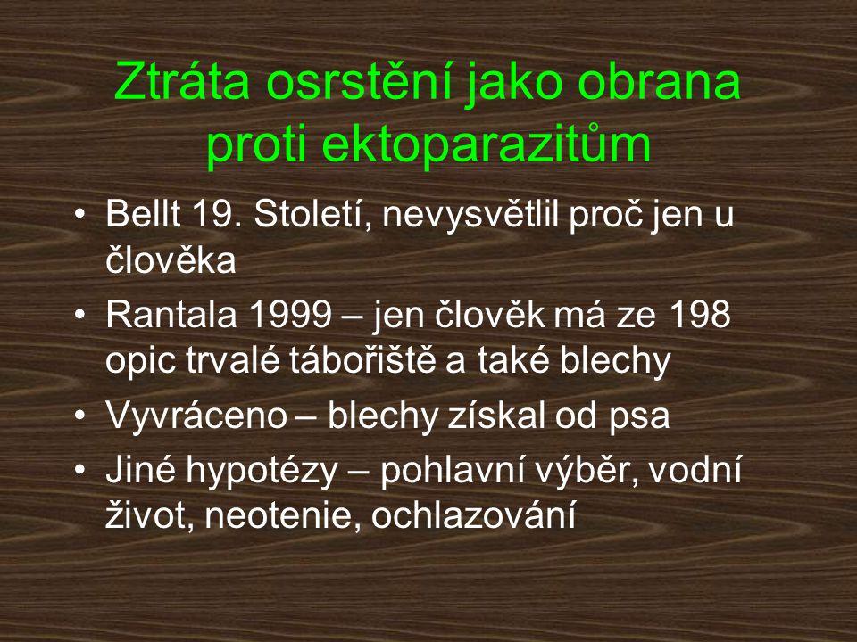 Ztráta osrstění jako obrana proti ektoparazitům Bellt 19. Století, nevysvětlil proč jen u člověka Rantala 1999 – jen člověk má ze 198 opic trvalé tábo