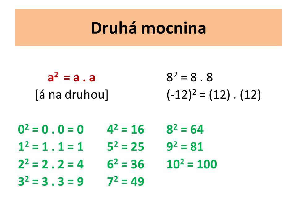 Druhá mocnina a 2 = a. a8 2 = 8. 8 [á na druhou](-12) 2 = (12).
