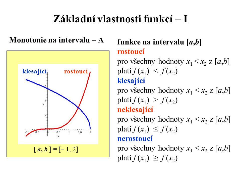 Základní vlastnosti funkcí – I Monotonie na intervalu – A funkce na intervalu [a,b] rostoucí pro všechny hodnoty x 1 < x 2 z [a,b] platí f (x 1 ) < f (x 2 ) klesající pro všechny hodnoty x 1 < x 2 z [a,b] platí f (x 1 ) > f (x 2 ) neklesající pro všechny hodnoty x 1 < x 2 z [a,b] platí f (x 1 ) ≤ f (x 2 ) nerostoucí pro všechny hodnoty x 1 < x 2 z [a,b] platí f (x 1 ) ≥ f (x 2 ) klesající rostoucí [ a, b ] = [– 1, 2]
