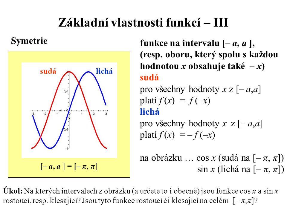 Základní vlastnosti funkcí – III Symetrie funkce na intervalu [– a, a ], (resp. oboru, který spolu s každou hodnotou x obsahuje také – x) sudá pro vše