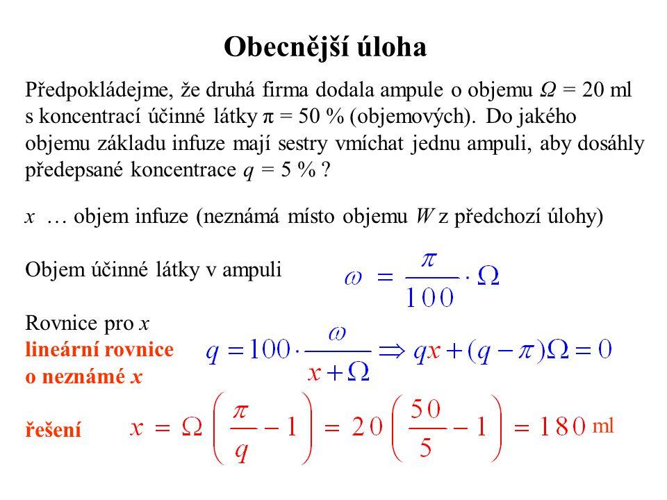 Obecnější úloha Předpokládejme, že druhá firma dodala ampule o objemu Ω = 20 ml s koncentrací účinné látky π = 50 % (objemových). Do jakého objemu zák