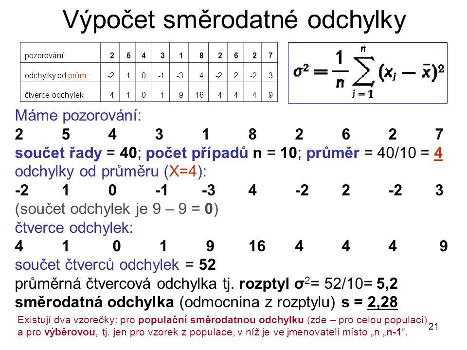 21 Výpočet směrodatné odchylky Máme pozorování: 2 5 4 3 1 8 2 6 2 7 součet řady = 40; počet případů n = 10; průměr = 40/10 = 4 odchylky od průměru (X=4): -2 1 0 -1 -3 4 -2 2 -23 (součet odchylek je 9 – 9 = 0) čtverce odchylek: 41 0 1 9 16 4 4 4 9 součet čtverců odchylek = 52 průměrná čtvercová odchylka tj.