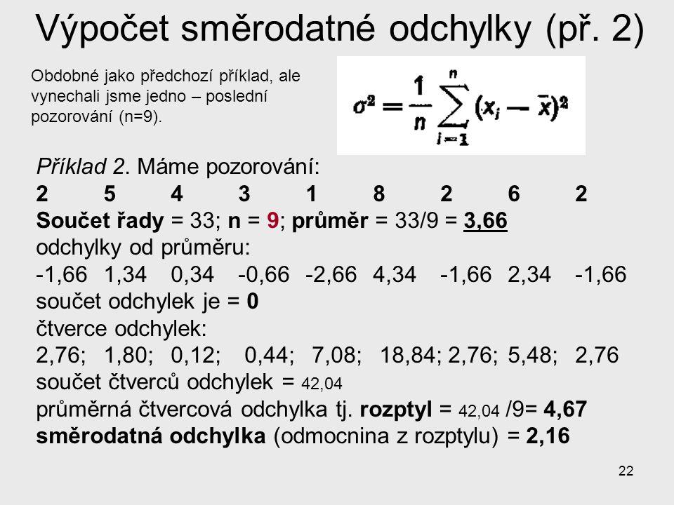 22 Výpočet směrodatné odchylky (př. 2) Příklad 2. Máme pozorování: 2 5 4 3 1 8 2 6 2 Součet řady = 33; n = 9; průměr = 33/9 = 3,66 odchylky od průměru