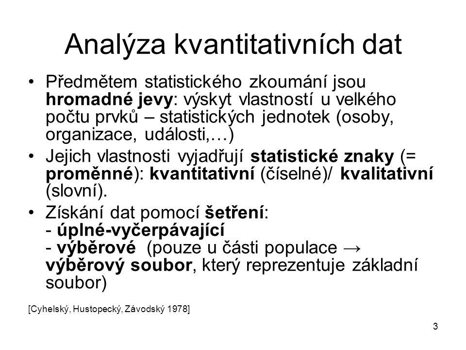 3 Analýza kvantitativních dat Předmětem statistického zkoumání jsou hromadné jevy: výskyt vlastností u velkého počtu prvků – statistických jednotek (osoby, organizace, události,…) Jejich vlastnosti vyjadřují statistické znaky (= proměnné): kvantitativní (číselné)/ kvalitativní (slovní).
