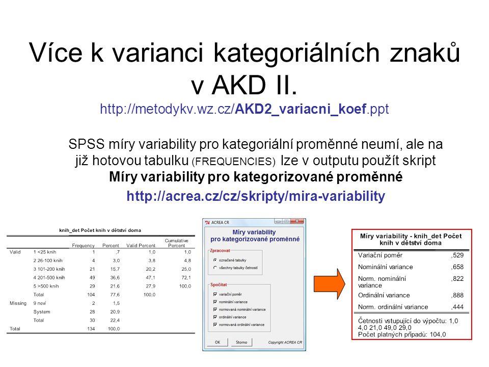 Více k varianci kategoriálních znaků v AKD II. http://metodykv.wz.cz/AKD2_variacni_koef.ppt SPSS míry variability pro kategoriální proměnné neumí, ale
