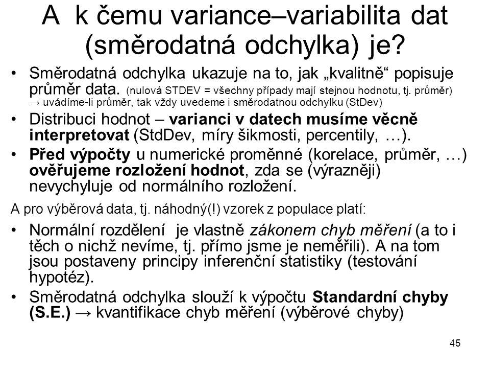 """45 A k čemu variance–variabilita dat (směrodatná odchylka) je? Směrodatná odchylka ukazuje na to, jak """"kvalitně"""" popisuje průměr data. (nulová STDEV ="""